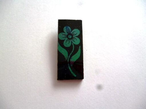 szkło ozdobne, COE 90, kwiatek turkusowy